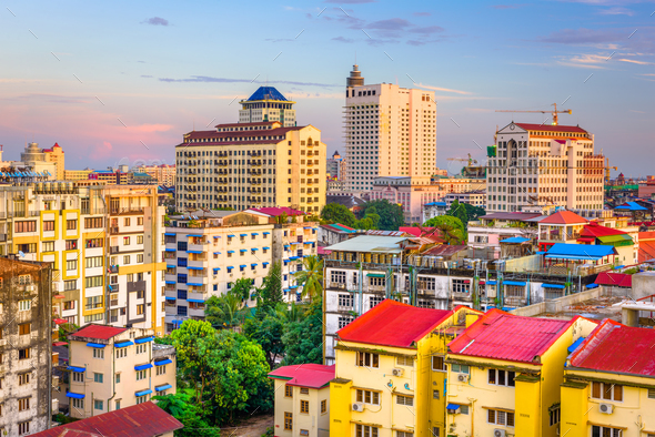 Yangon, Myanmar Downtown Cityscape - Stock Photo - Images