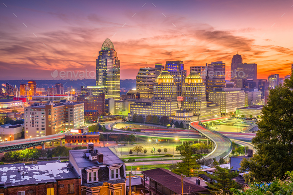 Cincinnati, Ohio, USA Skyline - Stock Photo - Images