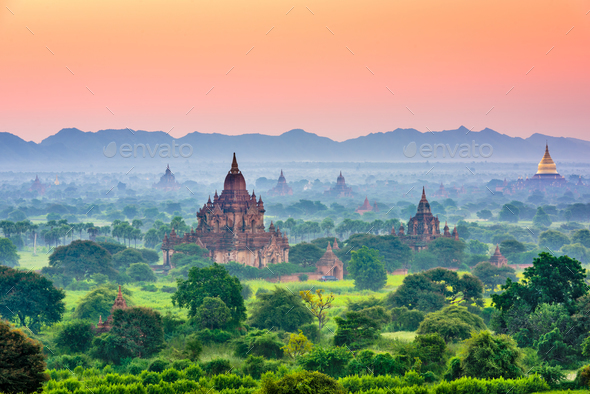 Bagan, Myanmar Ancient Temple Landscape - Stock Photo - Images