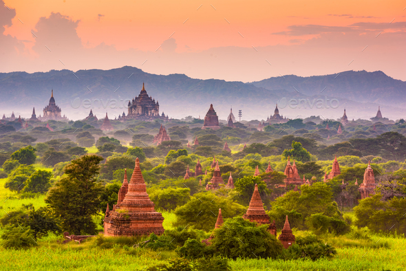 Bagan, Myanmar Ancient Temple Landscape - Stock Photo - Images
