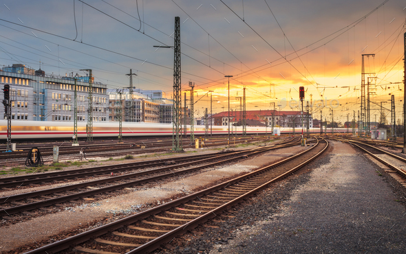 Industrial landscape. Railway Station in Nuremberg, Germany. Rai - Stock Photo - Images