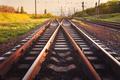Cargo train platform at sunset. Railroad. Railway station - PhotoDune Item for Sale