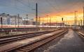 Industrial landscape. Railway Station in Nuremberg, Germany. Rai - PhotoDune Item for Sale
