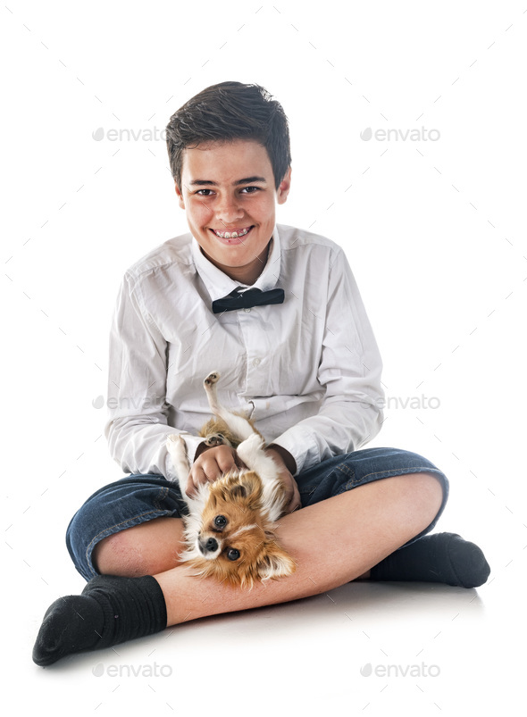 boy with chihuahua - Stock Photo - Images
