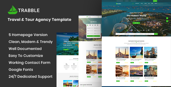 Trabble- Tour, Travel & Travel Agency Template