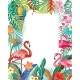Border with Flamingoes and Tropical Plants - GraphicRiver Item for Sale