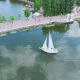 Aerial View Flight Over the Park and Beautiful Blue Lake in the City Center. Ternopil Ukraine - VideoHive Item for Sale