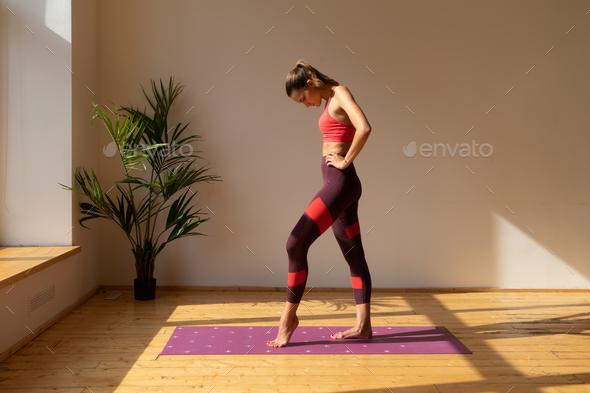 young caucasian sportswoman indoor - Stock Photo - Images
