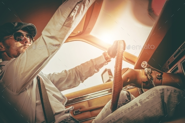 Gentleman in the Classic Car - Stock Photo - Images