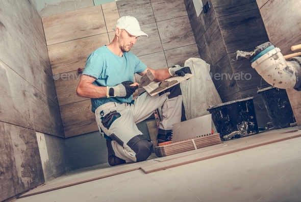 Bathroom Remodeling by Men - Stock Photo - Images