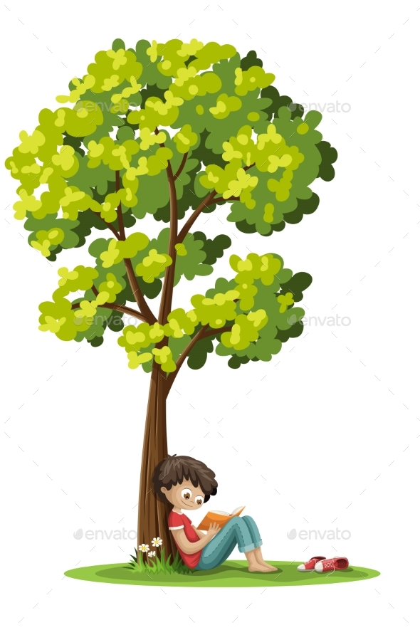 Boy Reading a Book - Landscapes Nature