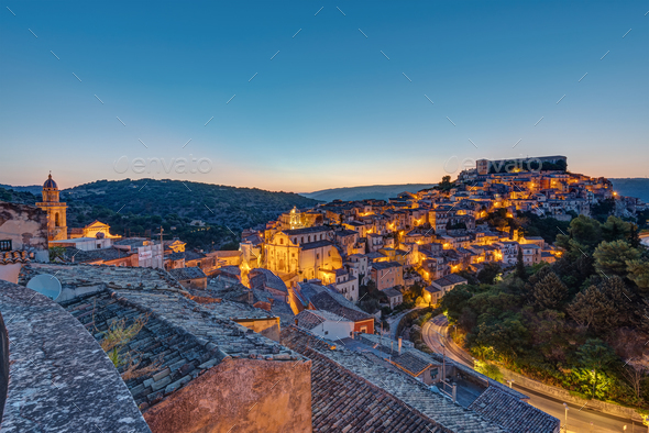 Ragusa Ibla in Sicily just before sunrise - Stock Photo - Images