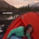 Woman Getting Out of Tent in a Winter Day - VideoHive Item for Sale