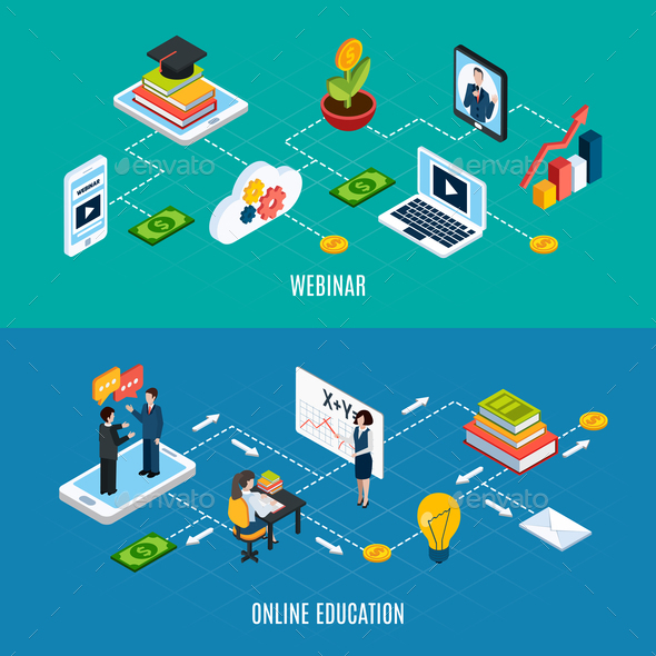 two webinar isometric banner set by macrovector graphicriver