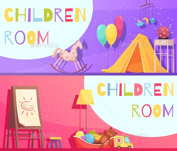 Children Room Horizontal Cartoon Banners - Backgrounds Decorative