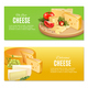 Realistic Cheeses Horizontal Banners