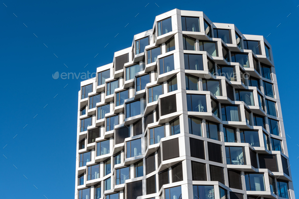 Facade of modern high-rise residential building - Stock Photo - Images