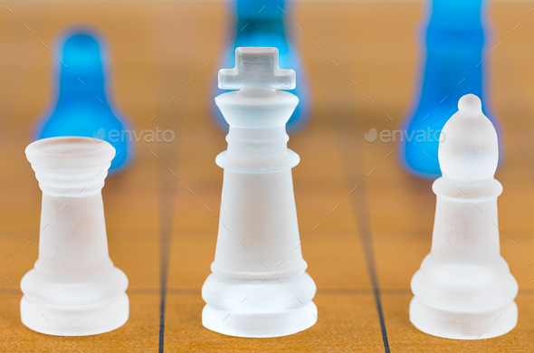 Chess glass on a wood chessboard_-4 - Stock Photo - Images