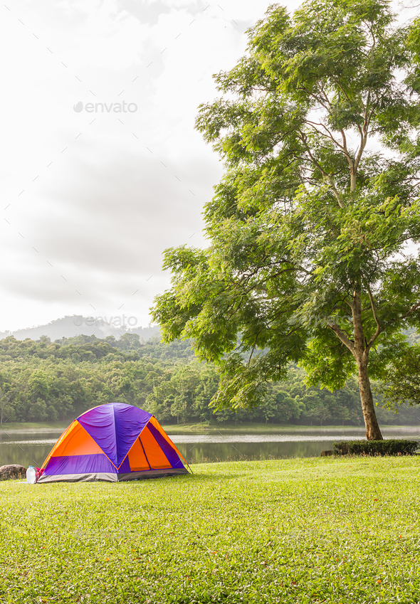 Dome tent camping at lake side _-16 - Stock Photo - Images