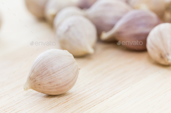 Garlic on wood table-3 - Stock Photo - Images