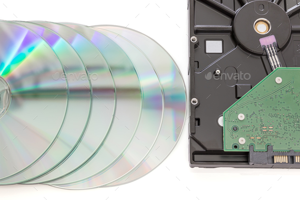 Hard disk drive and dvd disc-3 - Stock Photo - Images