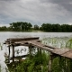Old Fishing Bridge on the Lake on a Cloudy Day - VideoHive Item for Sale