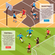 Sport Field Games Isometric Banners