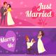 Newlyweds Cartoon Banners
