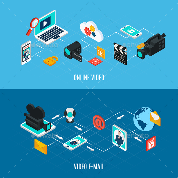 Video Streams Isometric Banners - Media Technology