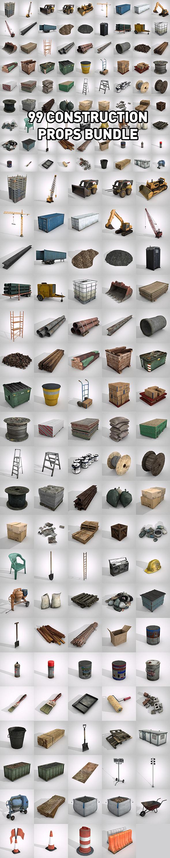 99 Construction Props Bundle - 3DOcean Item for Sale