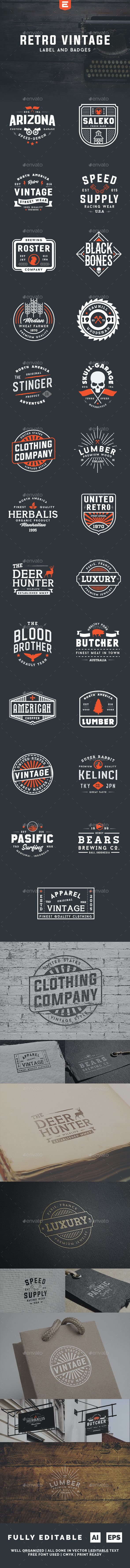 Retro Vintage Label and Badges - Badges & Stickers Web Elements