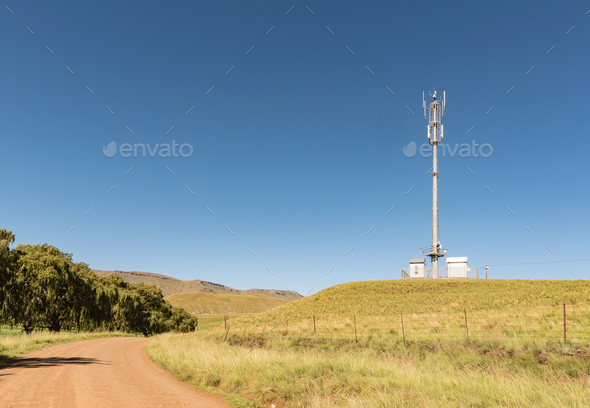 Landscape with cellphone tower on road R396 near Rhodes - Stock Photo - Images