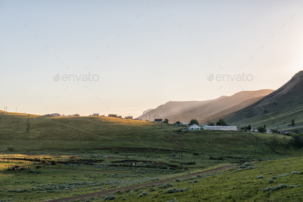 View of township in  Rhodes in the Eastern Cape - Stock Photo - Images