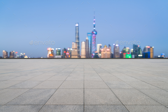 empty floor and magic shanghai skyline - Stock Photo - Images