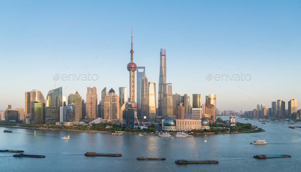 shanghai skyline in the setting sun after glow - Stock Photo - Images
