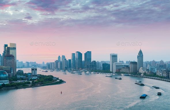 huangpu river bend in early morning - Stock Photo - Images