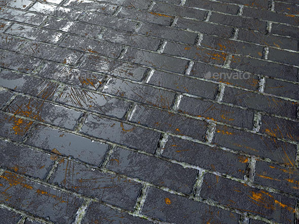 Black scratched bricks - 3DOcean Item for Sale