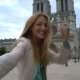 Young Woman Follow Me Notre Dame Cathedral Paris - VideoHive Item for Sale