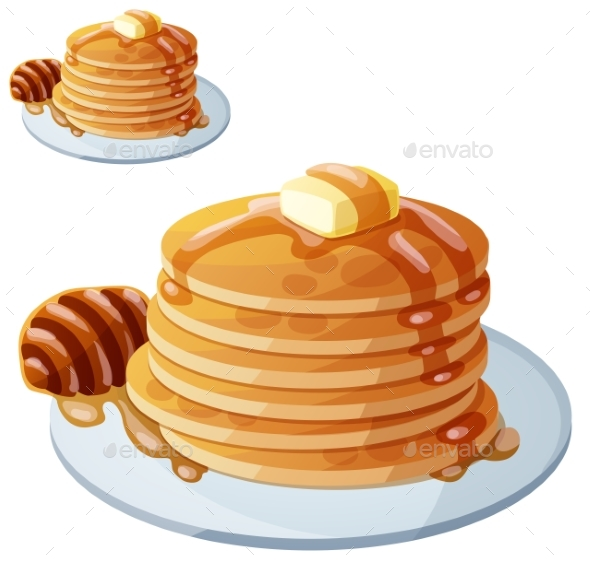 Pancakes with Honey and Butter - Food Objects