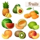 Set of Fruits Icons Isolated on White Background - GraphicRiver Item for Sale