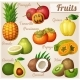 Set of Cartoon Food Icons Exotic Fruits - GraphicRiver Item for Sale