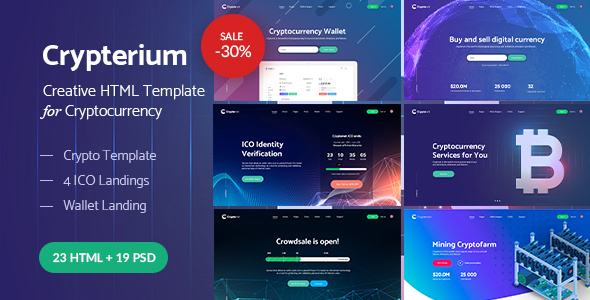 Image of Crypterium - Cryptocurrency & ICO Landing Pages HTML Pack