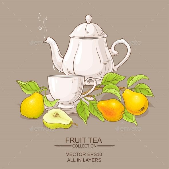 Pear Tea Vector Illustration - Food Objects