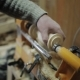 Sanding Wood on a Lathe. Foot Operated Spring Pole Wood Lathe - VideoHive Item for Sale