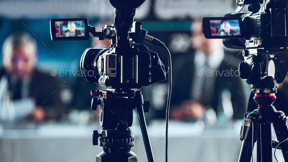 Camera Recording Press Conference - Stock Photo - Images