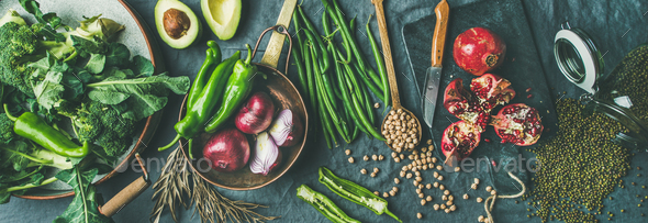 Winter vegetarian or vegan food cooking ingredients, wide composition - Stock Photo - Images
