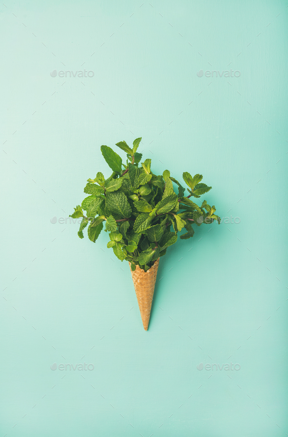 Waffle cone with fresh mint over blue background, vertical composition - Stock Photo - Images