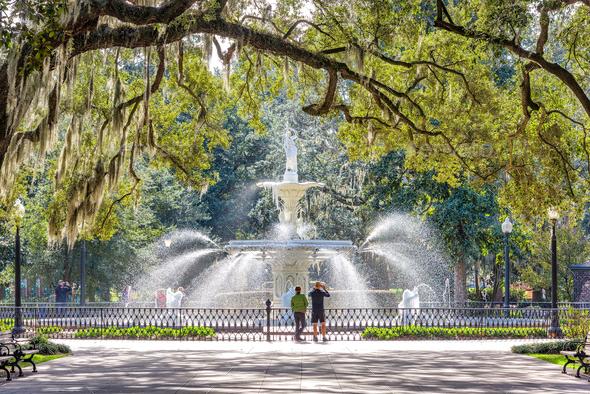 Forsyth Park, Savannah, Georgia, USA - Stock Photo - Images