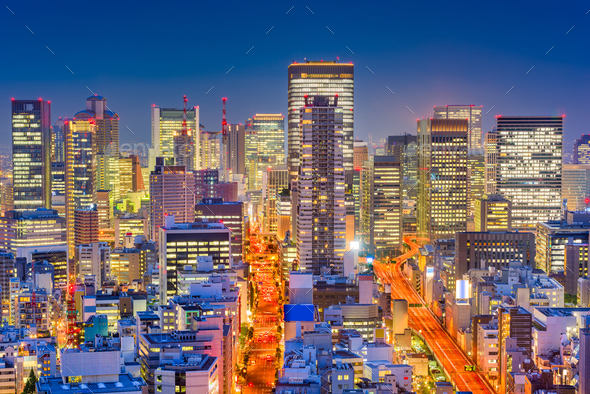 Osaka, Japan Night Cityscape - Stock Photo - Images
