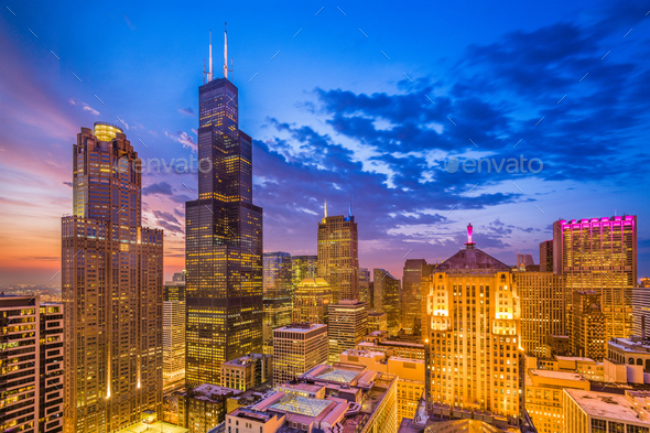 Chicago, Illinois, USA downtown cityscape at dusk. - Stock Photo - Images